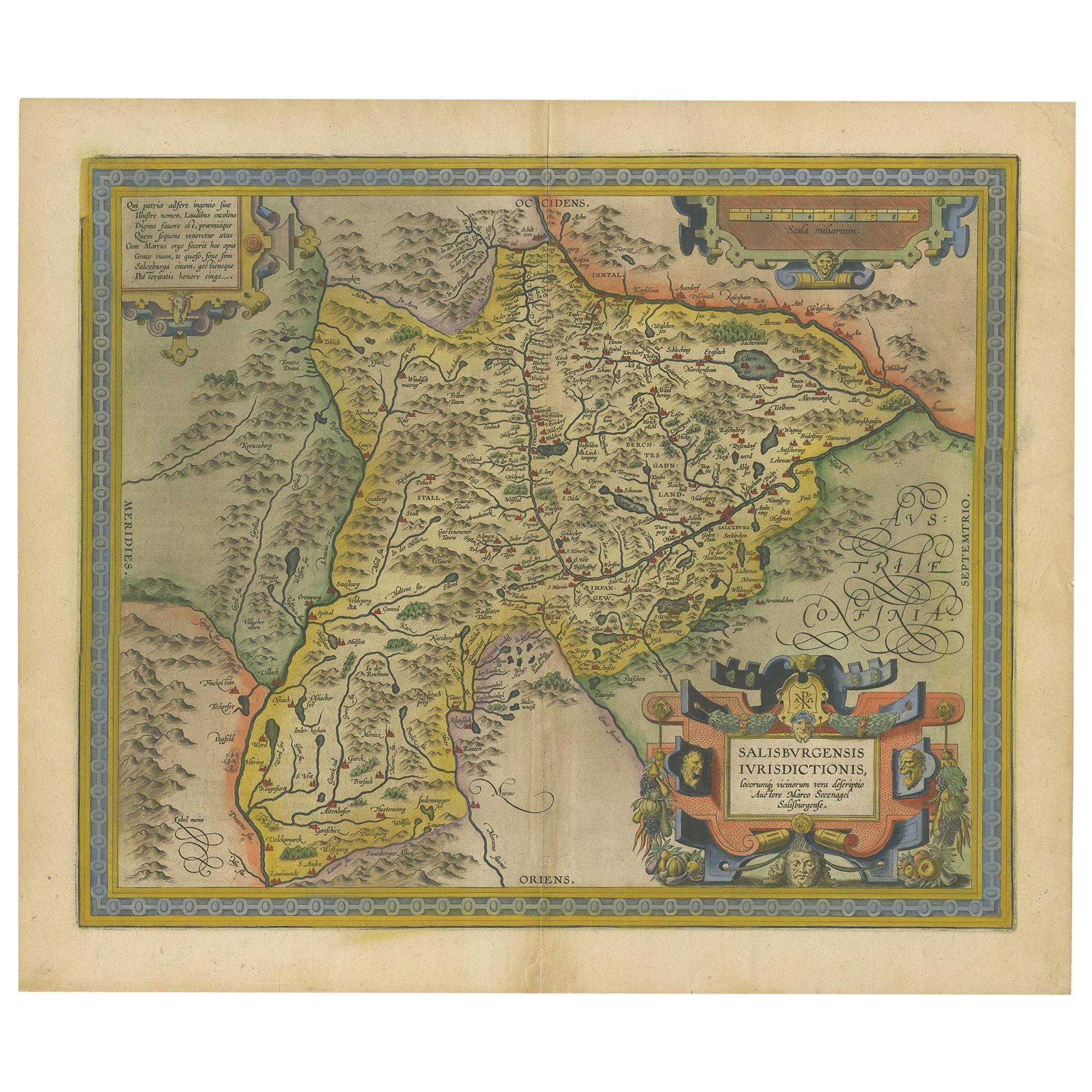 Antique Map of the Region of Salzburg by Ortelius 'circa 1606'