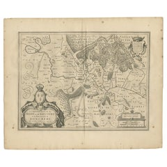 Antique Map of the Region of Sedan and Doncheri by Janssonius, 1657