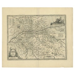 Antique Map of the Region of Touraine by Janssonius 'circa 1650'