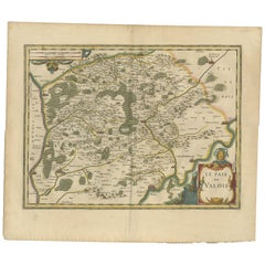 Antique Map of the Region of Valois by Hondius, circa 1630