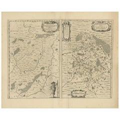 Antique Map of the Region of Vermandois and Cappelle by Janssonius, circa 1650