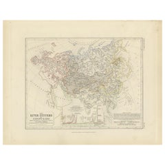 Antique Map of the River Systems of Europe and Asia by Johnston '1850'