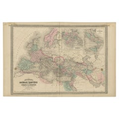 Antique Map of the Roman Empire by Johnson, '1872'