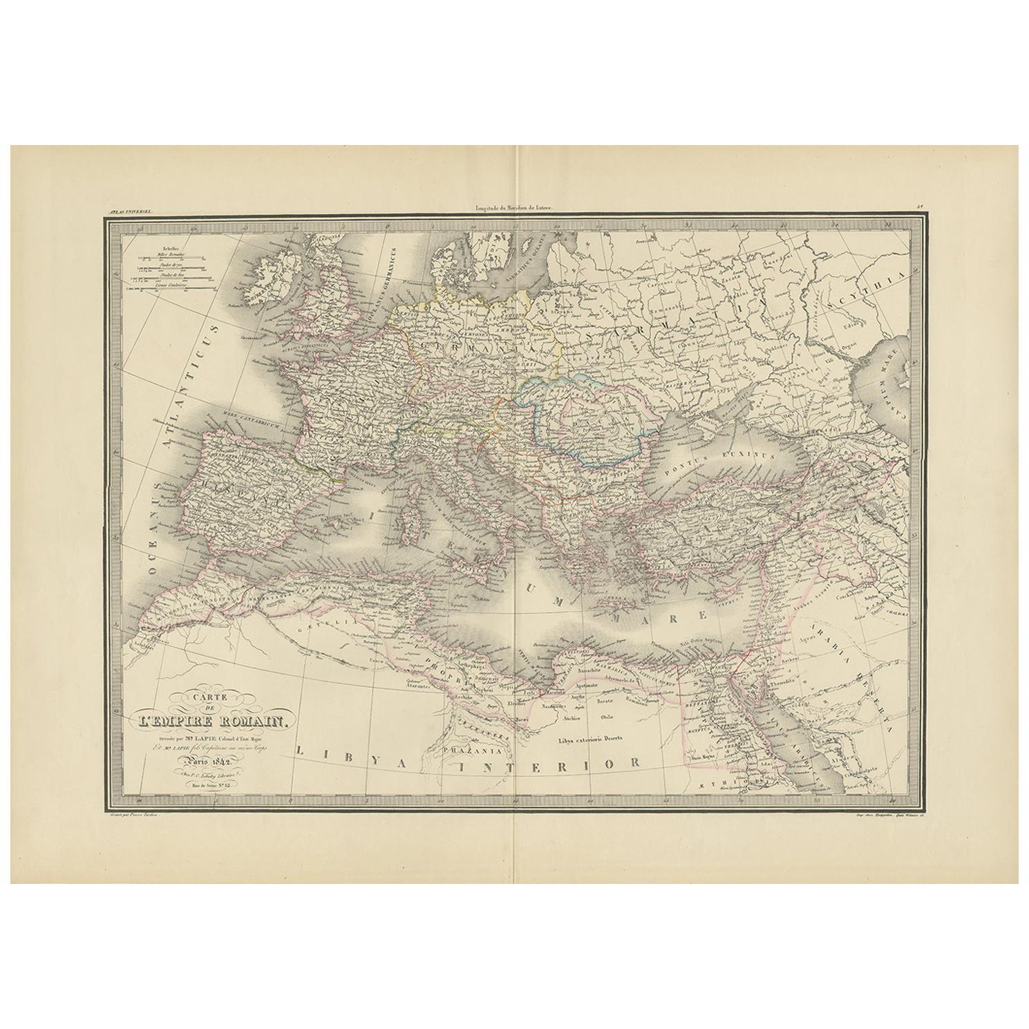 Antique Map of the Roman Empire by Lapie, 1842