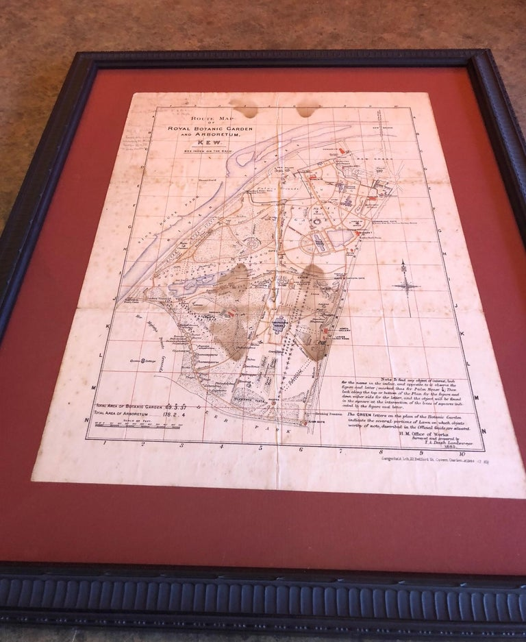 English Antique Map of the Royal Botanic Garden & Arboretum Kew in London, England For Sale