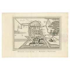 Antique Map of the Siege of Batavia by Van Schley 'c.1750'