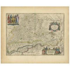 Antique Map of the Southern Part of Russia by Blaeu, circa 1650