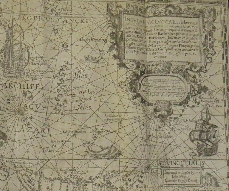 Antique Map of the Spice Islands by Van Linschoten, 1598 In Good Condition For Sale In Langweer, NL