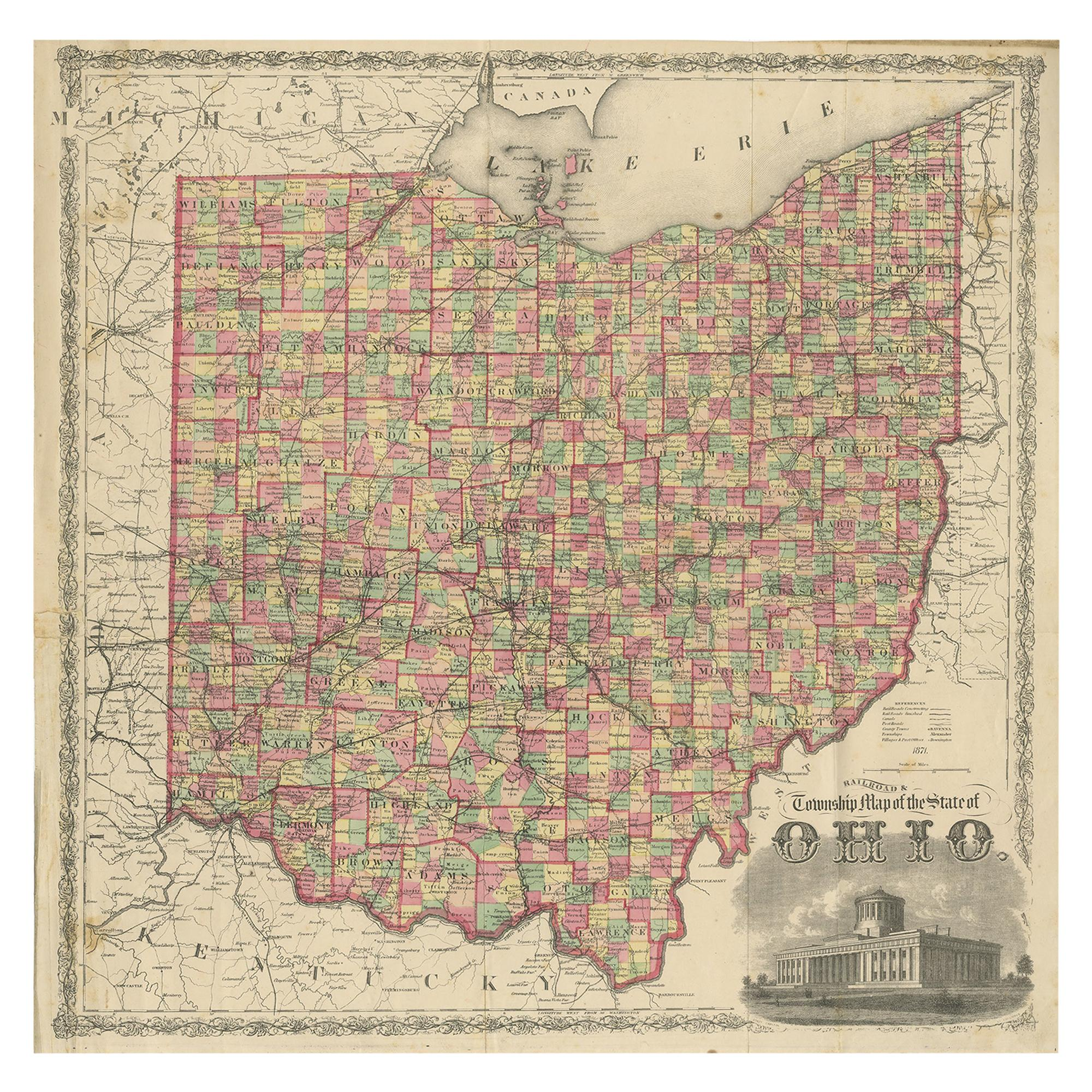 Antique Map of the State of Ohio by Titus '1871'