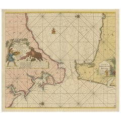 Antique Map of the Strait of Gibraltar by Van Keulen, circa 1705