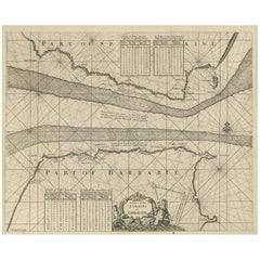 Antique Map of the Straits of Gibraltar by J. Gascoyne, circa 1716
