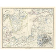 Antique Map of the Surroundings of the Baltic Sea by A.K. Johnston, 1865