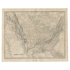 Antique Map of the United States by Balbi '1847'