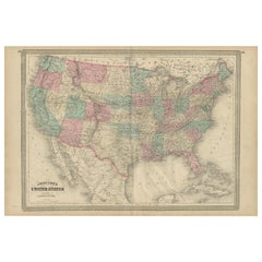 Antique Map of the United States by Johnson, 1872