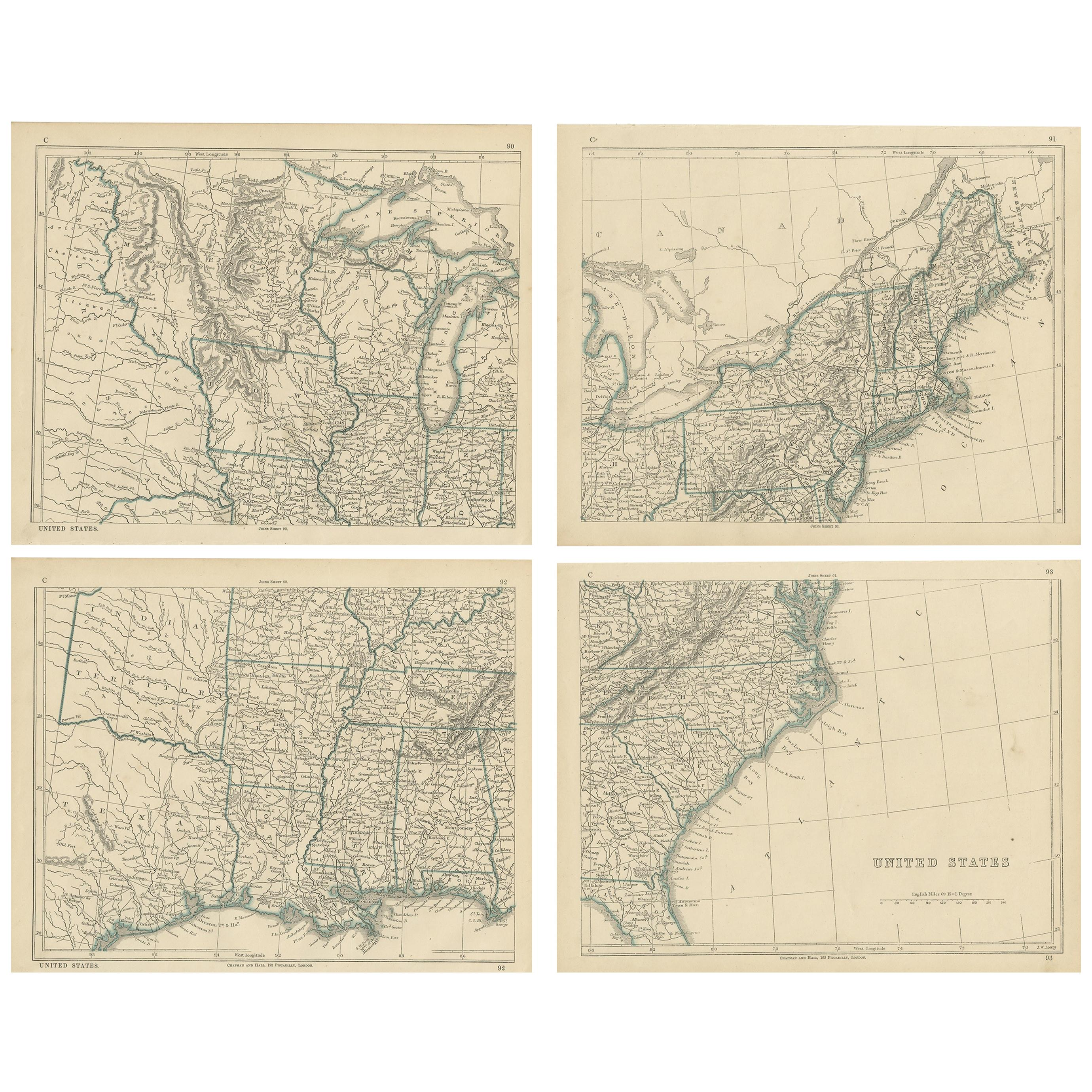 Antique Map of the United States by Lowry, '1852'
