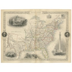 Antique Map of the United States by Tallis 'c.1850'