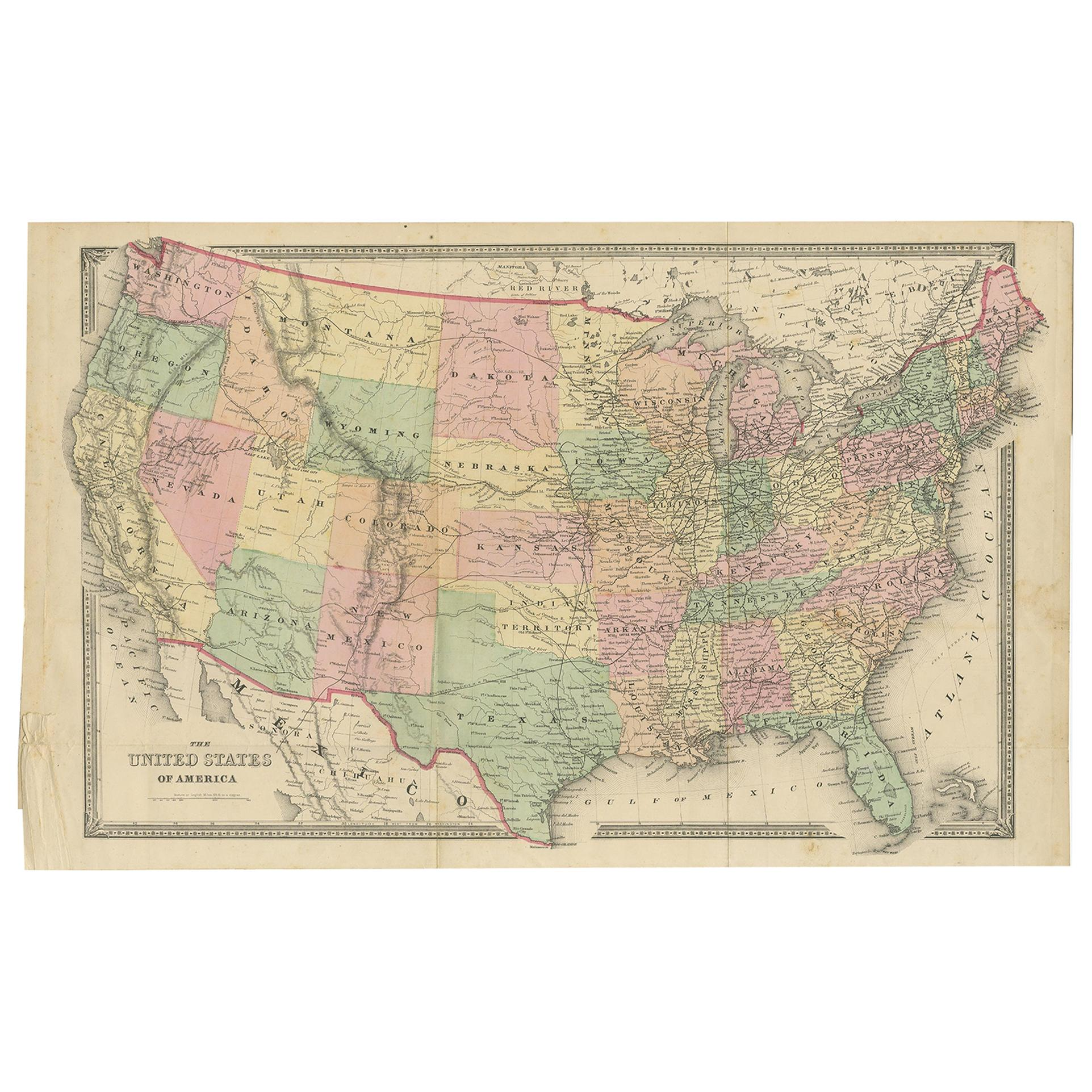 Antique Map of the United States by Titus '1871'