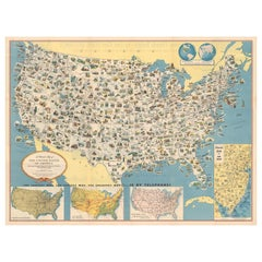 Antique Map of the United States, circa 1953