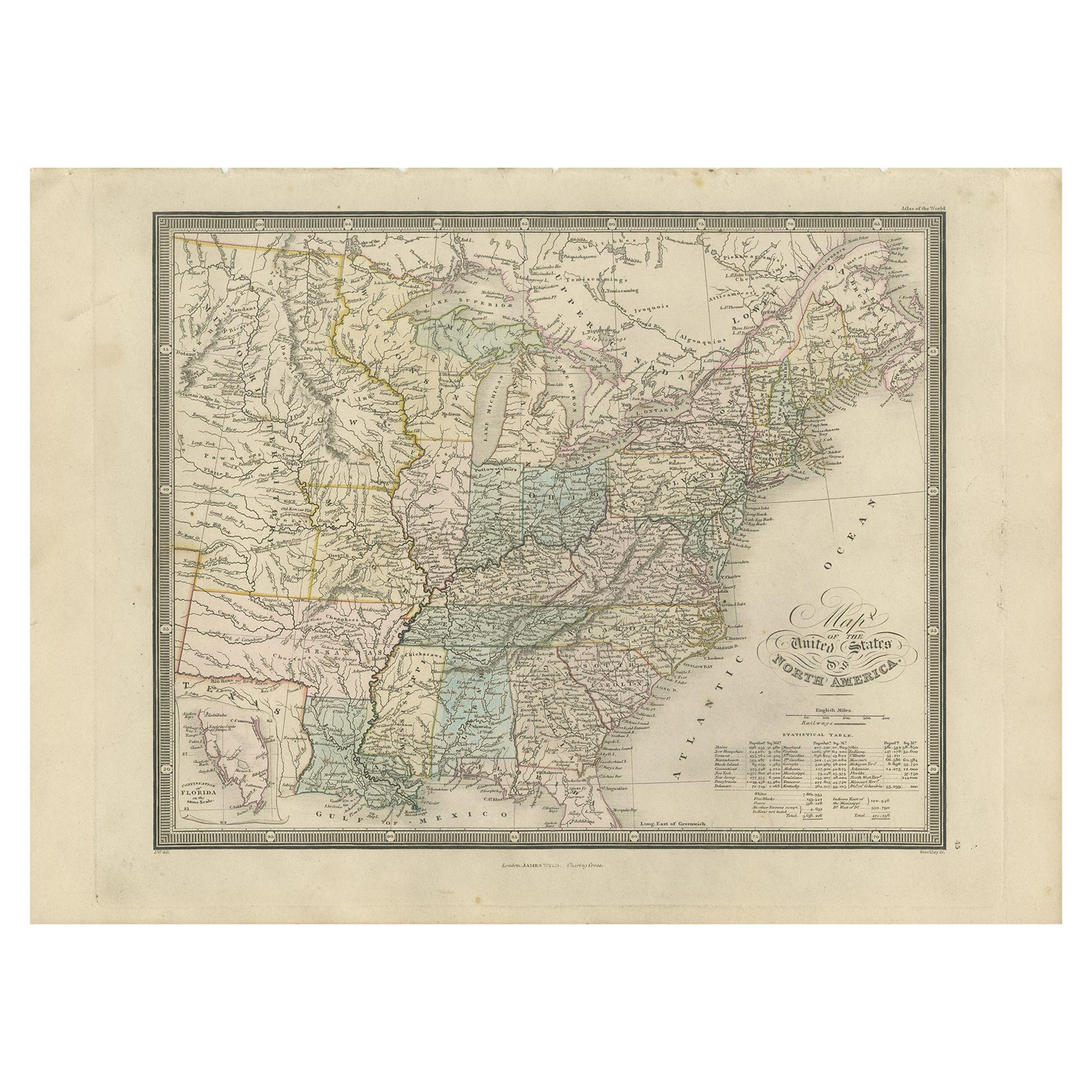 Antique Map of the United States of North America by Wyld '1845'