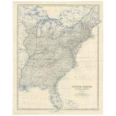 Antique Map of the United States of North America 'East' by A.K. Johnston, 1865