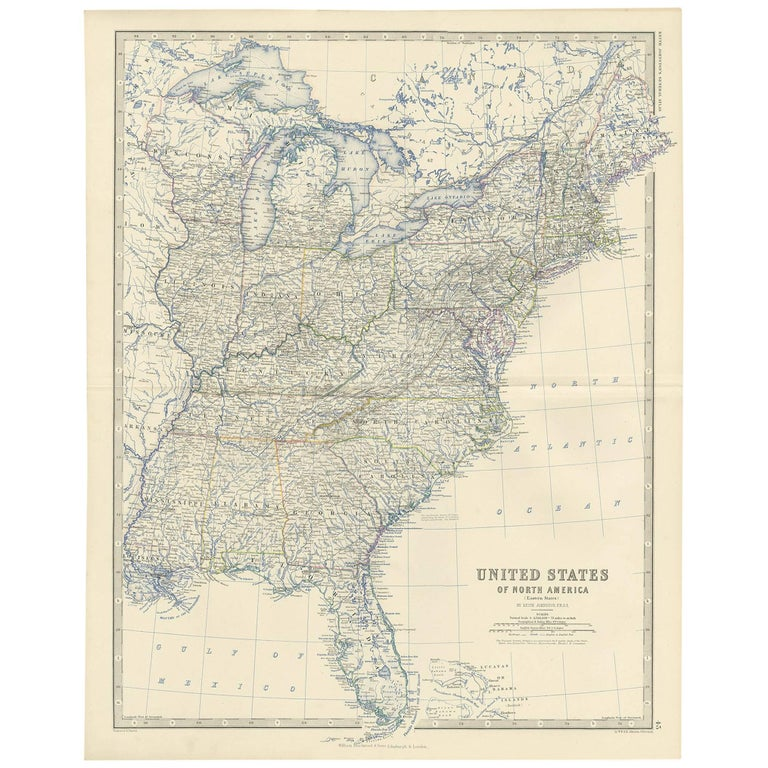 Antique Map Of Florida.Antique Map Of The United States Of North America East By A K