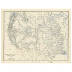 Antique Map of the United States of North America 'West' by A.K. Johnston, 1865