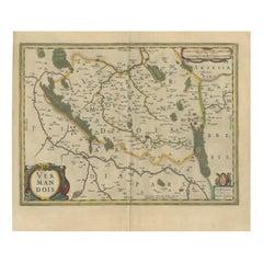 Antique Map of the Vermandois Region by Janssonius, circa 1640