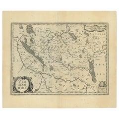 Antique Map of the Vermandois Region by Janssonius, circa 1650