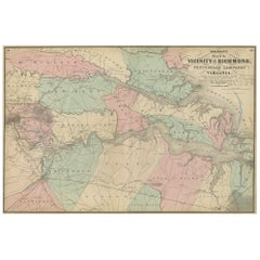 Antique Map of the vicinity of Richmond by Johnson, 1872