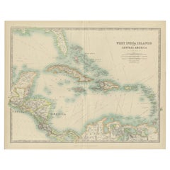 Antique Map of the West India Islands and Central America by Johnston '1909'