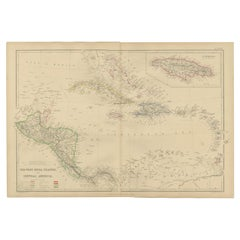 Antique Map of the West Indies and Central America by W. G. Blackie, 1859