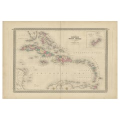 Antique Map of the West Indies by Johnson '1872'