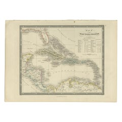 Antique Map of the West Indies by Wyld '1845'
