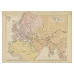 Antique Map of The World by A & C. Black, 1870