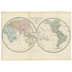 Antique Map of the World by A. Vuillemin, 1854