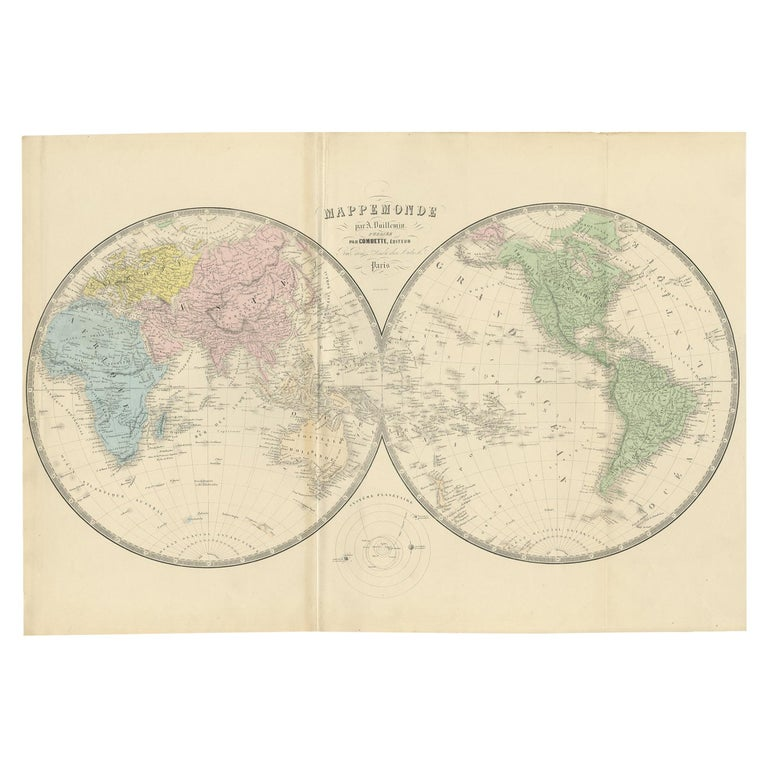 Antique Map of the World by A. Vuillemin, 1854 For Sale