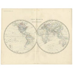 Antique Map of the World by A.K. Johnston, 1865