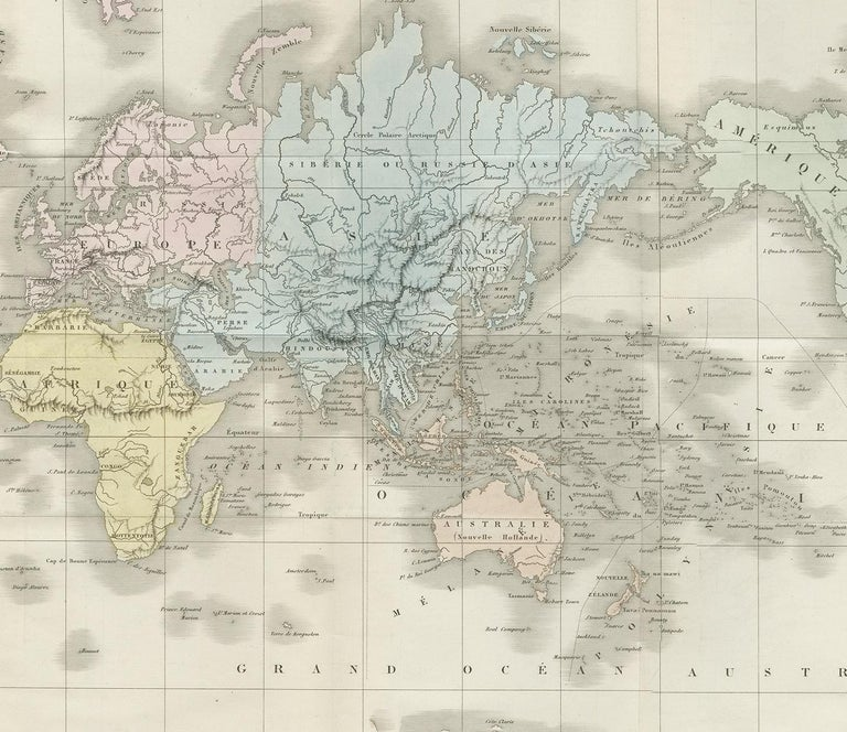 Antique Map of the World by D'Urville '1853' In Good Condition For Sale In Langweer, NL