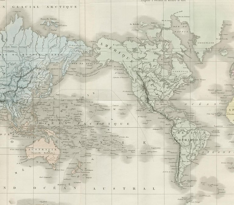 19th Century Antique Map of the World by D'Urville '1853' For Sale
