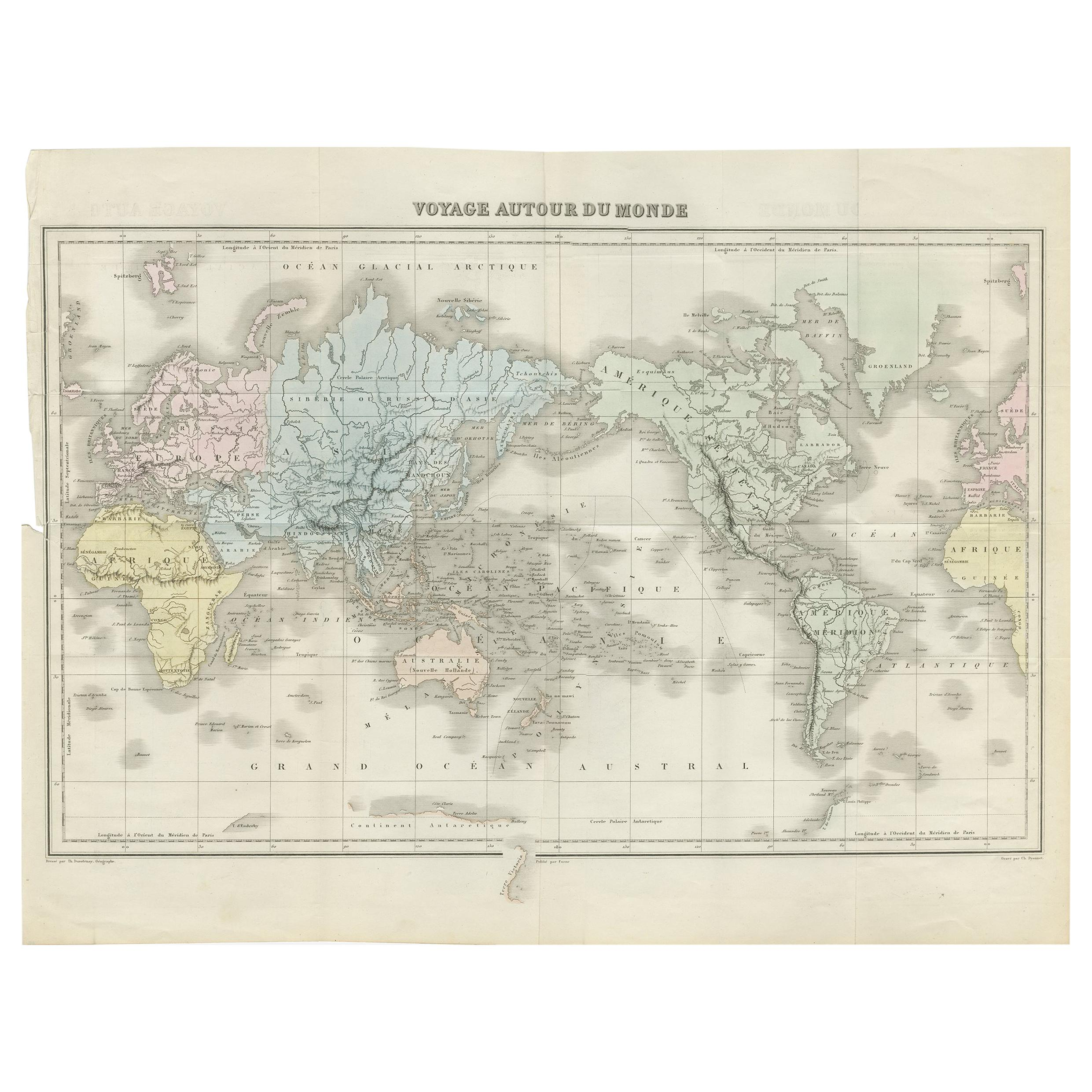 Antique Map of the World by D'Urville '1853'
