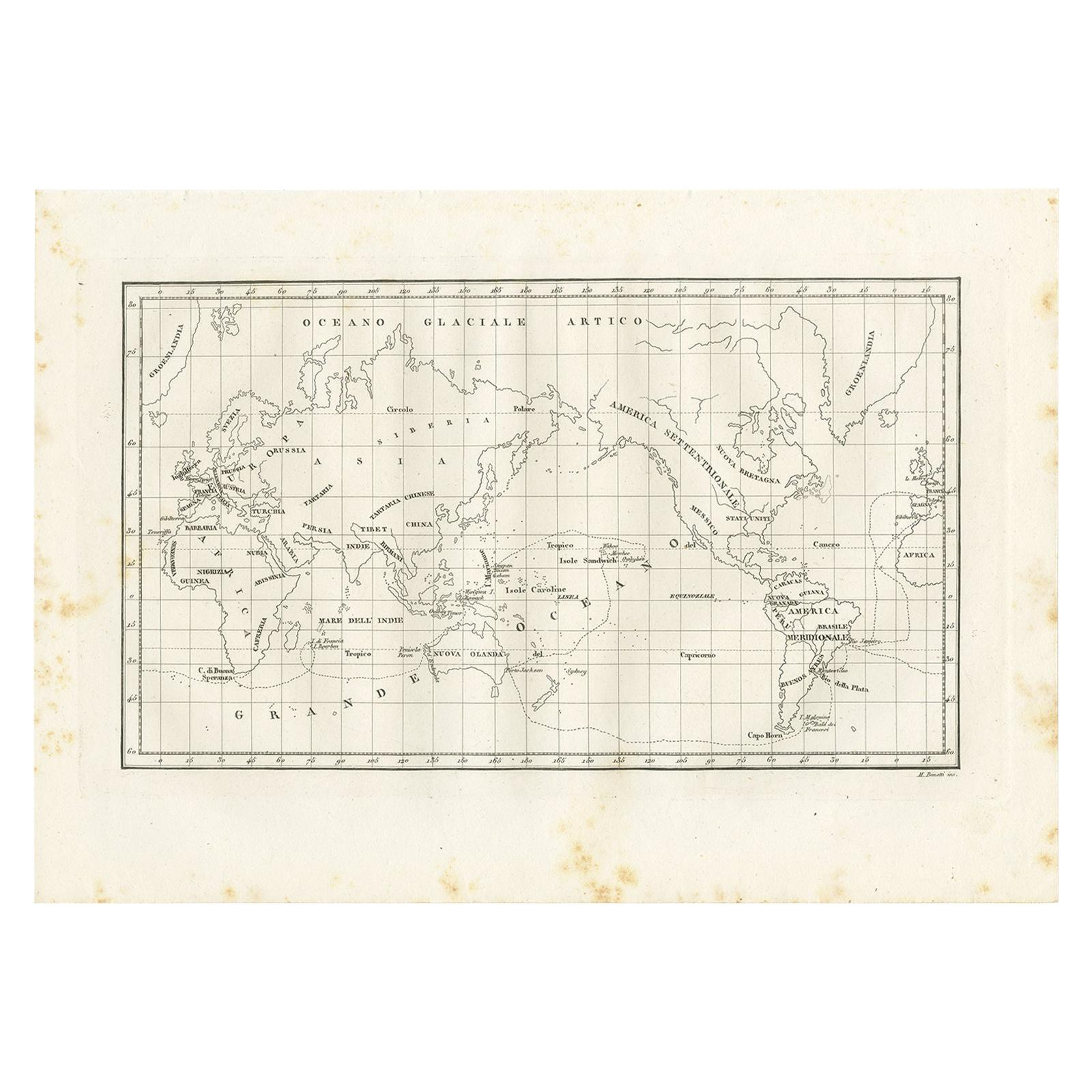Antique Map of the World by Ferrario '1831'