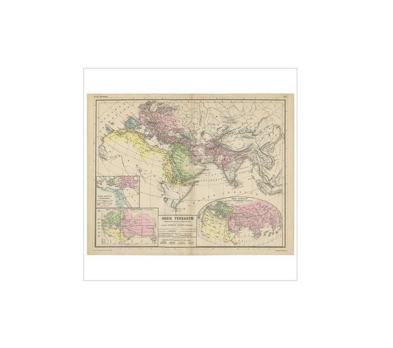 Antique map titled 'Orbis Terrarum'. This map originates from 'Atlas Antiquus. Zwölf Karten zur Alten Geschichte' by H. Kiepert. Published in Berlin, circa 1870.