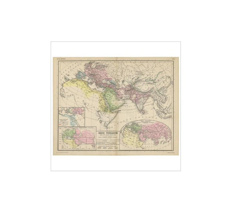 19th Century Antique Map of the World by H. Kiepert, circa 1870 For Sale
