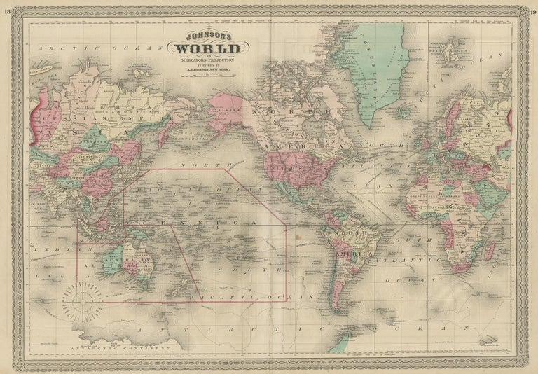 Antique map titled 'Johnson's World. Original world map. This map originates from 'Johnson's New Illustrated Family Atlas of the World' by A.J. Johnson. Published 1872.