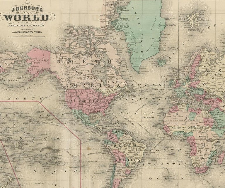 19th Century Antique Map of the World by Johnson, '1872' For Sale
