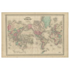 Antique Map of the World by Johnson, '1872'