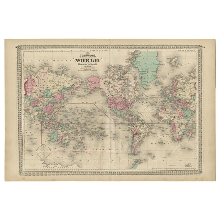 Antique Map of the World by Johnson, '1872' For Sale