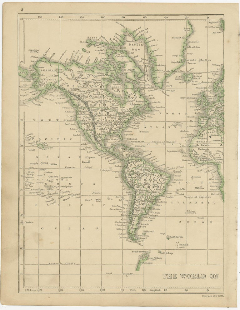 Antique map titled 'The World on Mercator's Projection'. Two individual sheets of the world. This map originates from 'Lowry's table Atlas constructed and engraved from the most recent authorities' by J.W. Lowry. Published 1852.