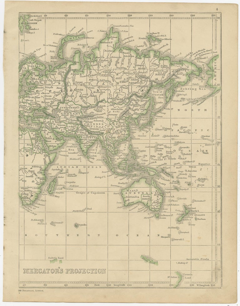 Antique Map of the World by Lowry, 1852 In Good Condition For Sale In Langweer, NL