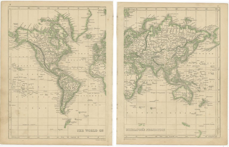 19th Century Antique Map of the World by Lowry, 1852 For Sale
